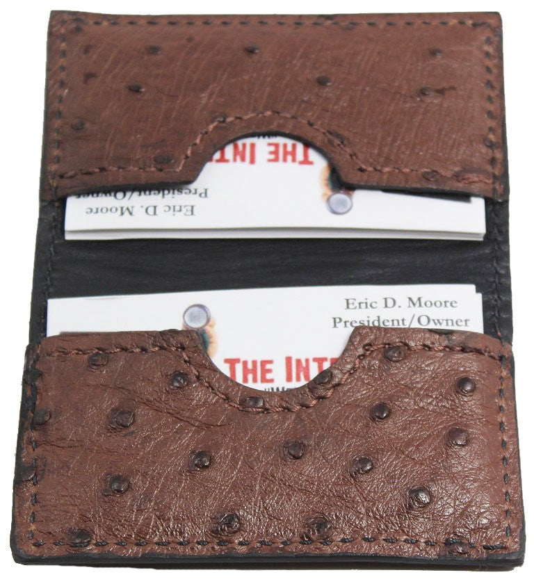 Bullhide Belts Genuine Brown Ostrich Credit Card Wallet