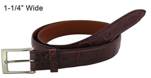 Bullhide Belts Burgundy American Alligator Dress or Casual Designer Belt
