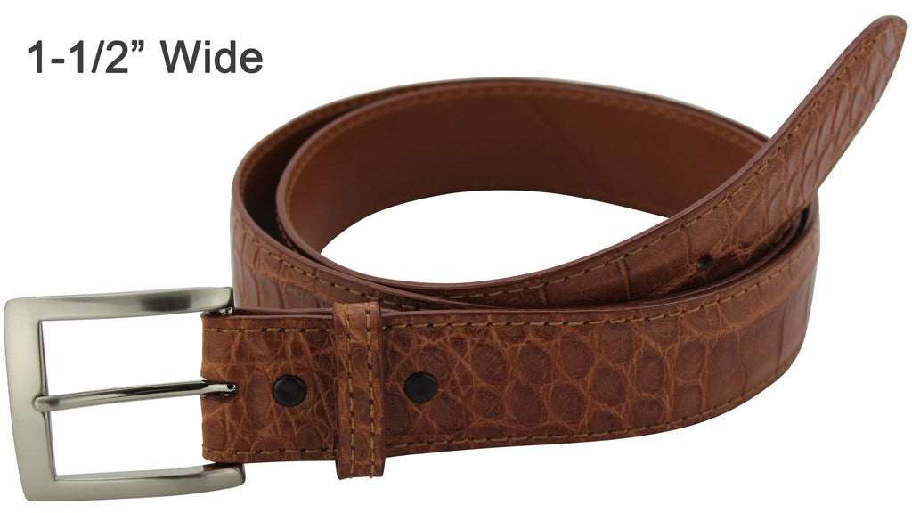 Bullhide Belts Cognac American Alligator Dress or Casual Designer Belt