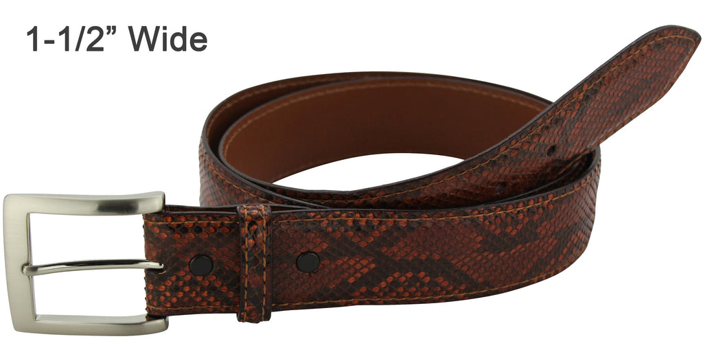 Bullhide Belts Cognac Python Snake Skin Dress or Casual Designer Belt