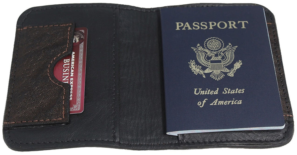 Genuine Dark Brown Elephant Passport Wallet