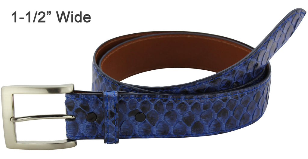 Bullhide Belts Denim Blue Python Snake Skin Dress or Casual Designer Belt