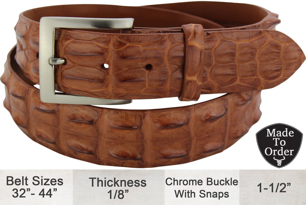 Cognac Australian Saltwater Hornback Crocodile Dress or Casual Designer Belt