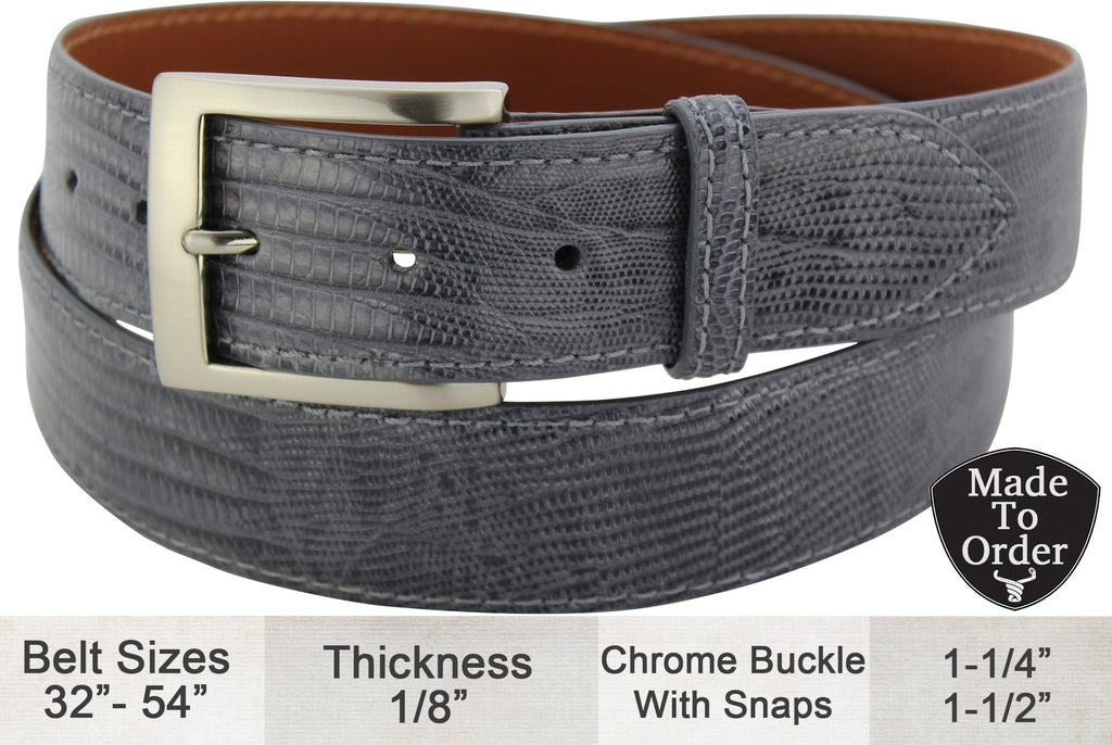 Grey Lizard Skin Dress or Casual Designer Belt