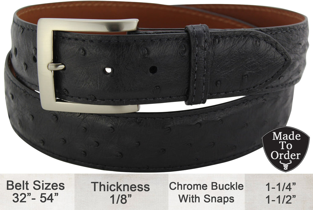 Black Ostrich Dress or Casual Designer Belt