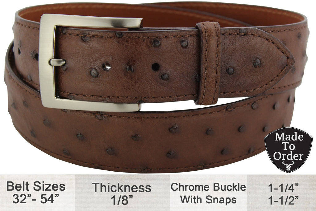 Brown Ostrich Dress or Casual Designer Belt