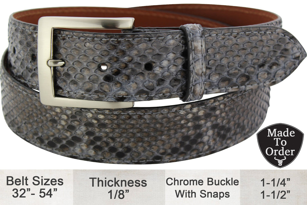 Bullhide Belts Grey Python Snake Skin Dress or Casual Designer Belt