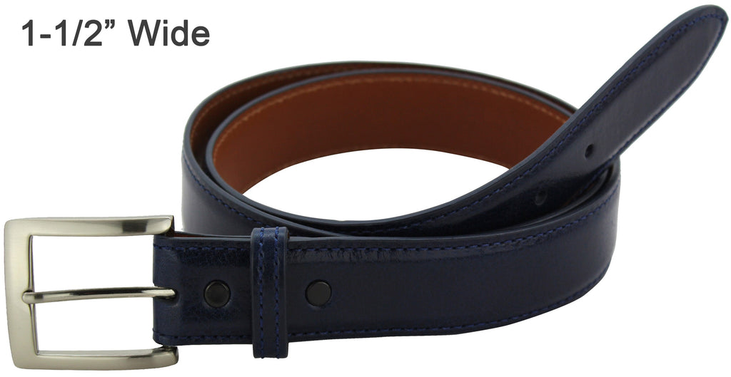 Bullhide Belts Navy Blue Italian Calf Leather Dress or Casual Designer Belt (Made To Order)