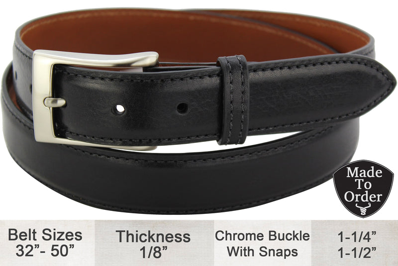 Bullhide Belts Black Italian Calf Leather Dress or Casual Designer Belt (Made To Order)