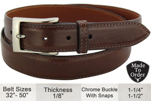 Bullhide Belts Brown Italian Calf Leather Dress or Casual Designer Belt (Made To Order)