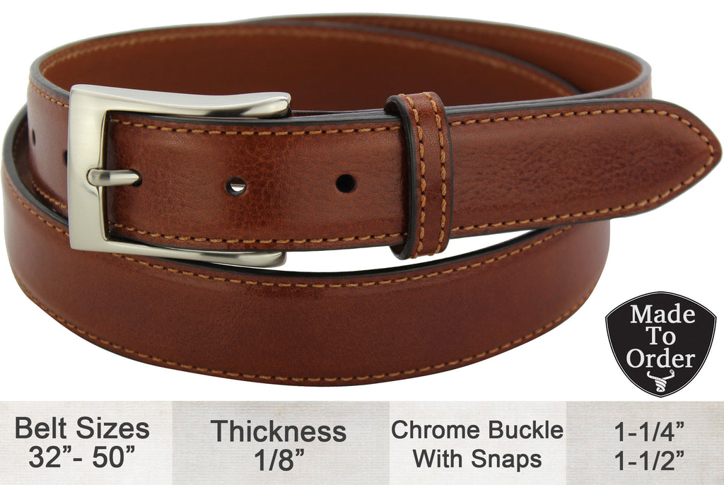 Bullhide Belts Cognac Italian Calf Leather Dress or Casual Designer Belt (Made To Order)