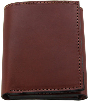 Bullhide Belts Medium Brown Premium Bridle Leather USA Made Trifold Wallet With ID Window
