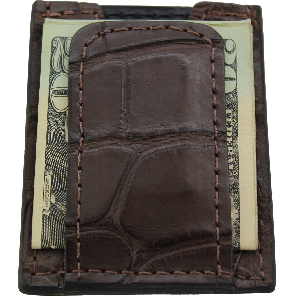 Brown Alligator Money Clip Wallet With Credit Card Slots