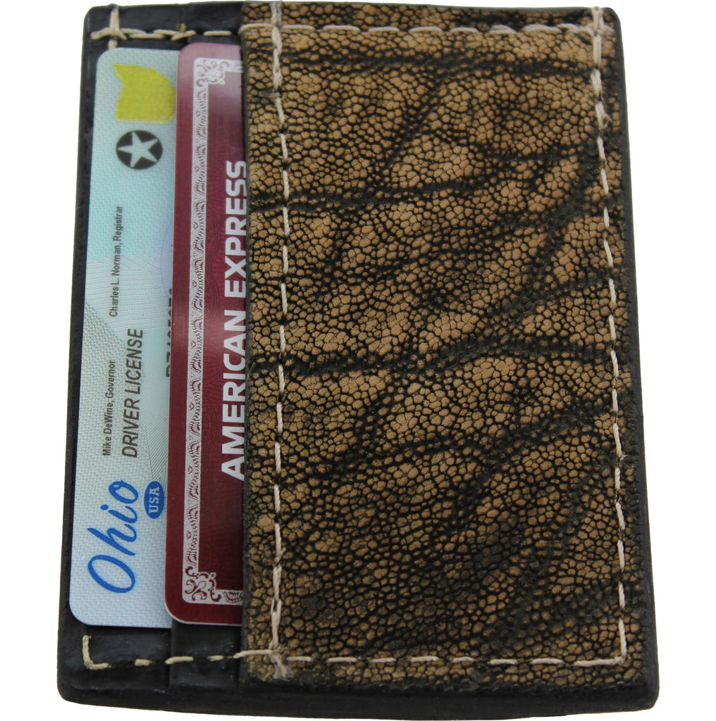 Tree Bark Elephant Money Clip Wallet With Credit Card Slots