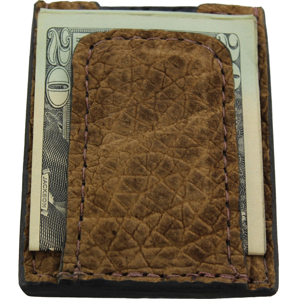 Tan Hippopotamus Money Clip Wallet With Credit Card Slots
