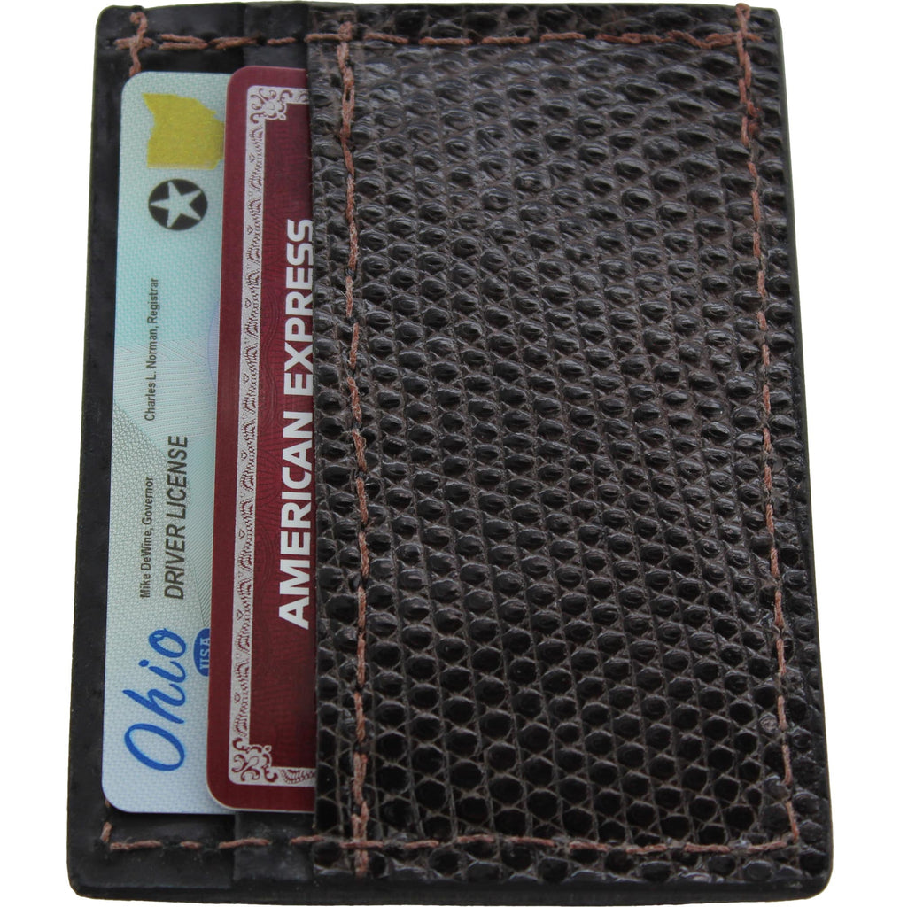 Brown Lizard Money Clip Wallet With Credit Card Slots