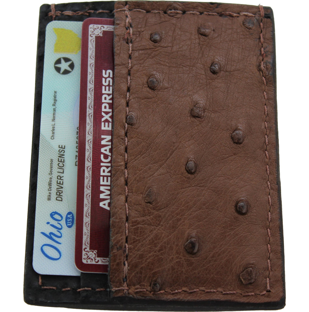 Brown Ostrich Money Clip Wallet With Credit Card Slots