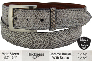 Bullhide Belts Cobra Snake Skin Dress or Casual Designer Belt
