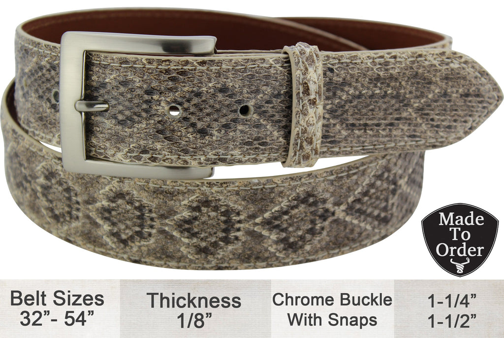Bullhide Belts Western Diamondback Rattlesnake Dress or Casual Designer Belt