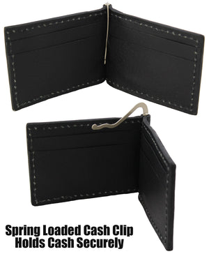 Bullhide Belts Black Bison Bifold Slim Profile Wallet With Money Clip