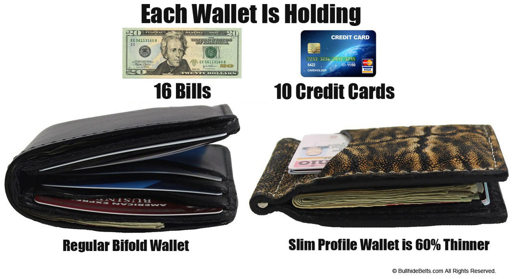 Bullhide Belts Black Ostrich Bifold Slim Profile Wallet With Money Clip