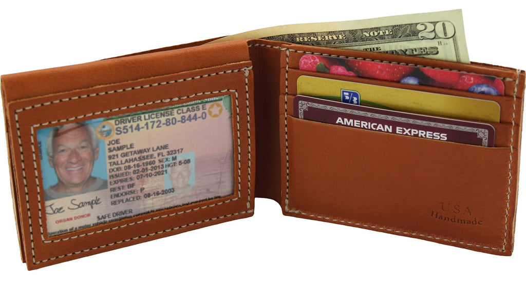 Tan Premium Bridle Leather USA Made Deluxe Bifold Wallet With ID Window