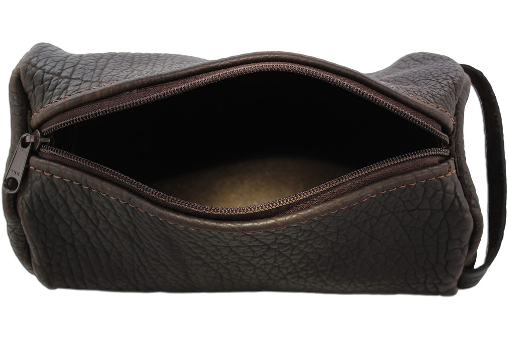 Bullhide Belts Dark Brown American Bison Travel Toiletry Zippered Bag