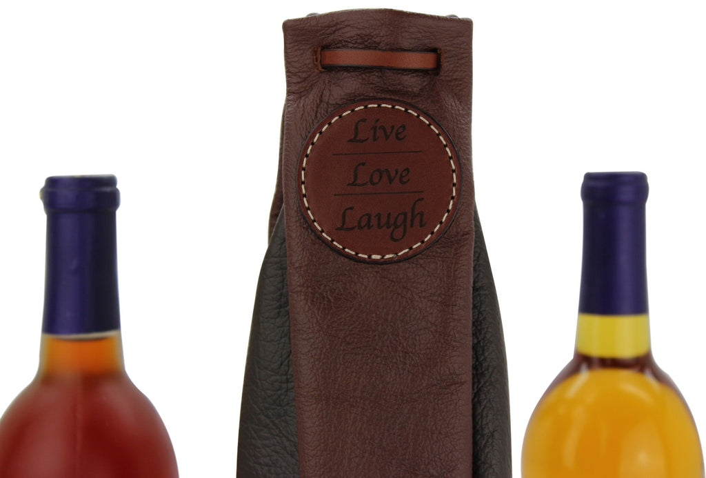 Two Tone Brown Leather Wine Bottle Carrier Gift Bag (Live Love Laugh)