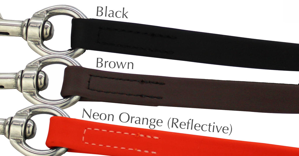 Neon Orange Hercules 6 Foot Dog Leash USA Made (Stainless Steel Hardware)