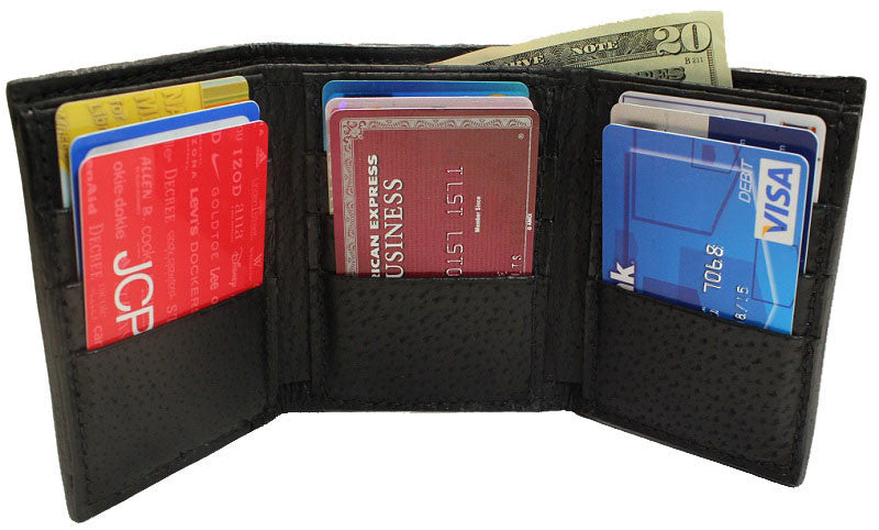 Bullhide Belts Genuine Black Hippopotamus Trifold Wallet