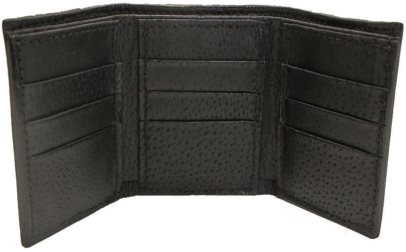 Bullhide Belts Genuine Black American Bison Trifold Wallet