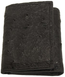 Bullhide Belts Genuine Black Ostrich Trifold Wallet