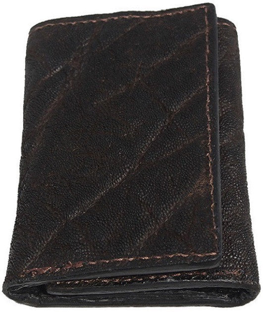 Genuine Dark Brown Elephant Trifold Wallet