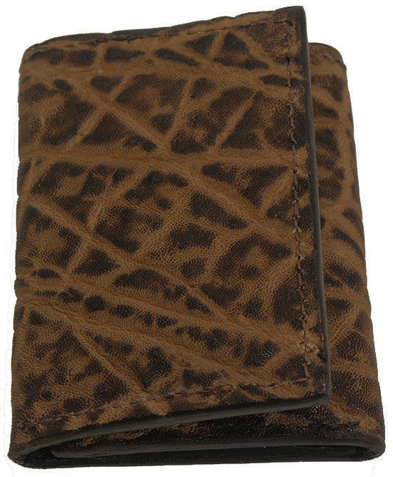 Genuine Rustic Brown Elephant Trifold Wallet