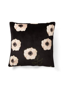 Sylvia Cushion in Velvet Black and Cream Poppy