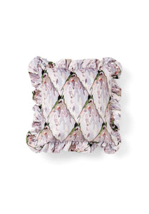 Dora Cushion in Velvet Tiled Protea with frilled trim
