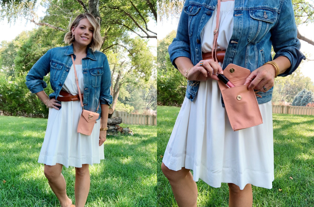 The Grace leather crossbody is a perfect bag for summer activities.