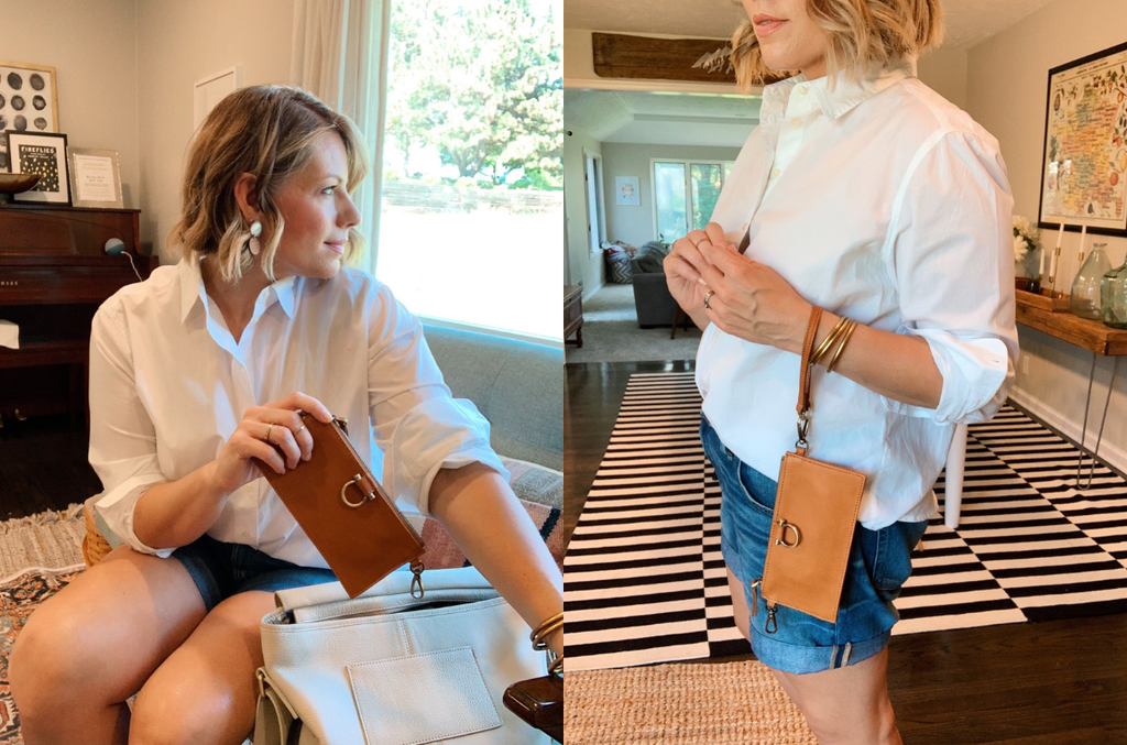 Evelyn is a great leather grab and go option for your phone, keys and cards.