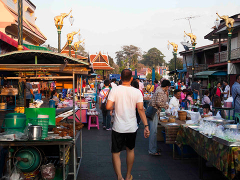 Local Thai market in the leather workers village