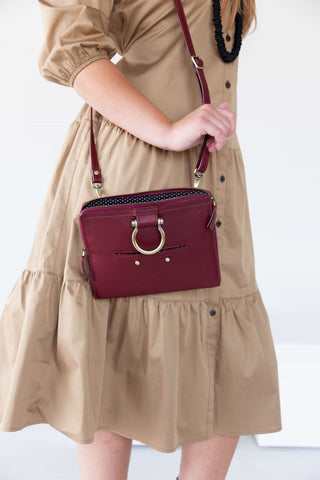 Mini bag in deep red is perfect for more than just the basics