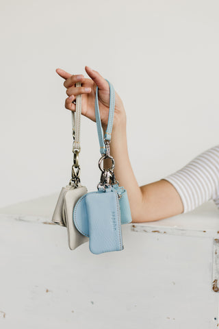 Mildred and rose card holder or coin purse in smoke and sky blue oil leather.