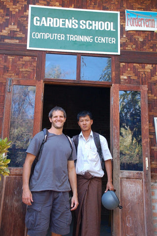 Matthew Mullen with Thai artisan attending school with a Sapahn scholarship