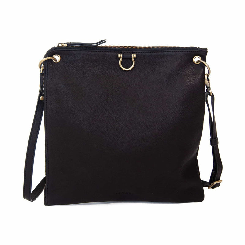 The Rin crossbody bag in black raw leather has Omega brass hardware.