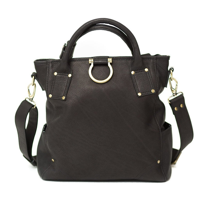 Black raw leather Chloe convertible crossbody and backpack features top handles and Omega hardware.