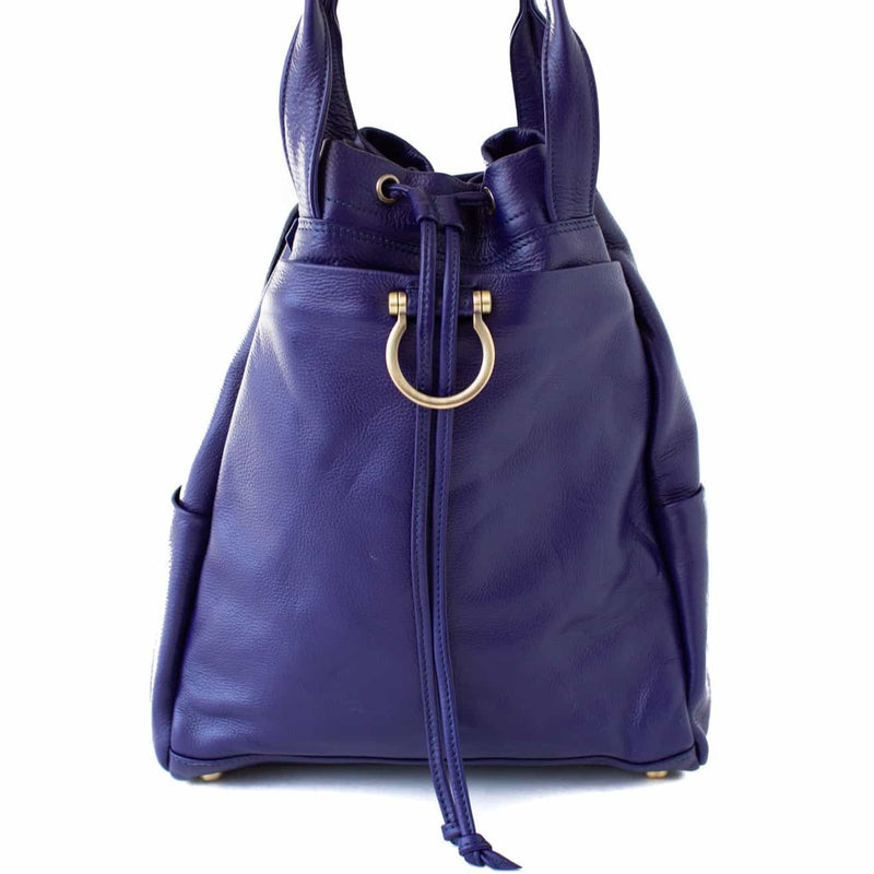 Addis leather backpack in Admiral Blue with Omega hardware, top handles, and a drawstring top.