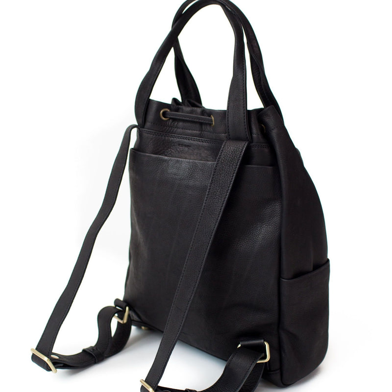 Addis features adjustable black leather backpack straps.