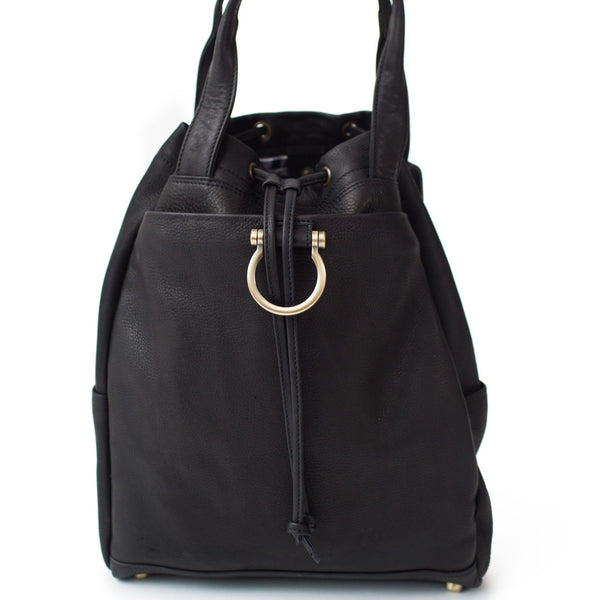 Addis leather backpack in black raw leather with Omega hardware and top handles