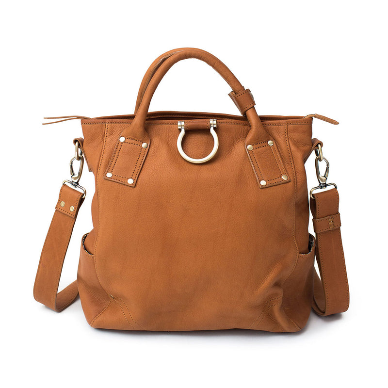 Whisky tan raw leather Chloe convertible crossbody and backpack has top handles and Omega hardware.