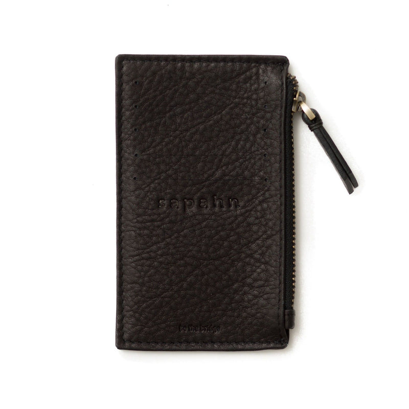 Black raw leather Emma card holder wallet features 5 external card slots and a subtle Sapahn logo.