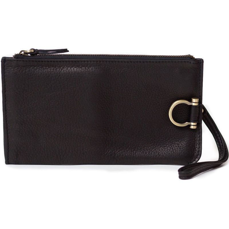 Forten wristlet in black raw leather features a minimal exterior with Omega brass hardware.